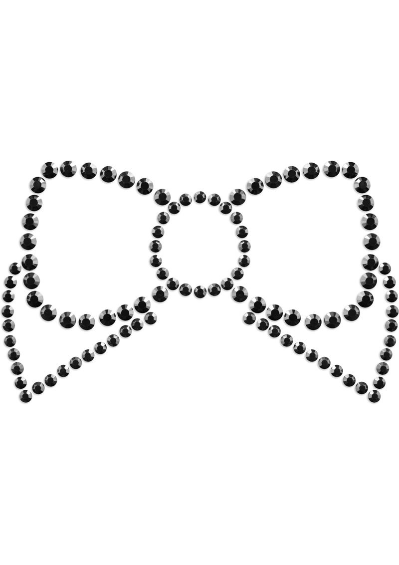 Bijoux Indiscrets Body Decorations Mimi Rhinestone Pasties Bow Black 2 Each Per Pack